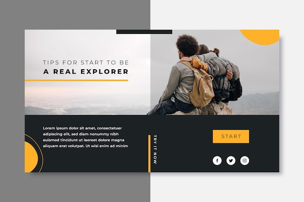 Design do blog do banner de viagens