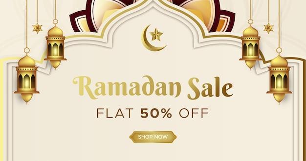 Design do cabeçalho da web do banner de venda ramadan kareem