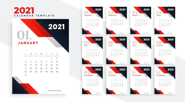 Design do calendário de feliz ano novo 2021 em vermelho estilo empresarial