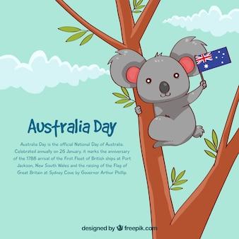 Design do dia da austrália com koala na árvore