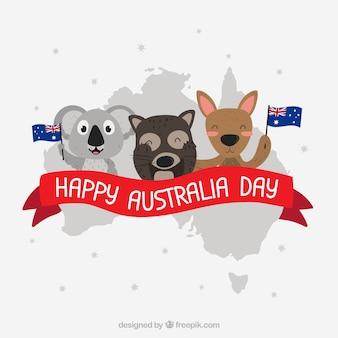Design do dia da austrália com koalas e canguru