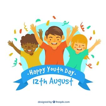 Design do dia da juventude com crianças levantando braços