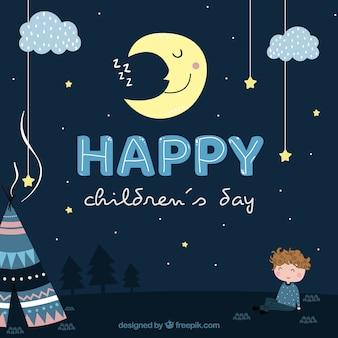 Design do dia das crianças à noite