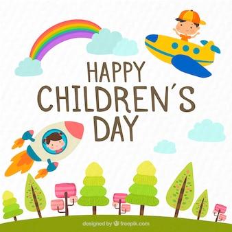 Design do dia das crianças com avião e foguete