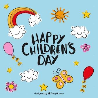 Design do dia das crianças com elementos