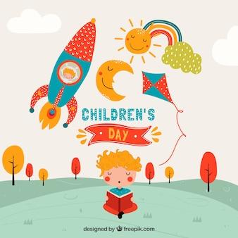 Design do dia das crianças com foguete