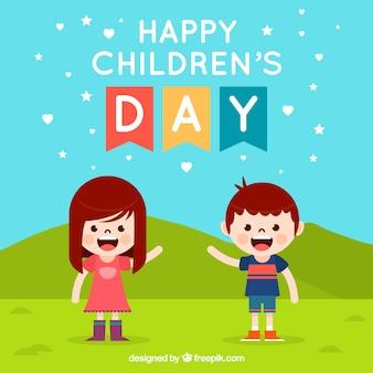 Design do dia das crianças com menino e menina