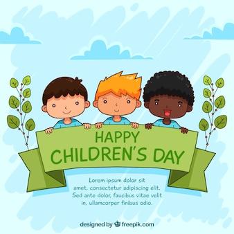 Design do dia das crianças com três filhos