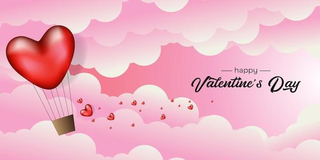 Design do dia dos namorados com coração de balão realista no céu