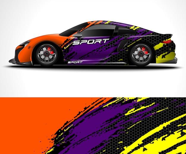 Design do envoltório do carro esporte e pintura do veículo