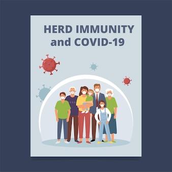 Design do folheto: imunidade do rebanho e covid-19.