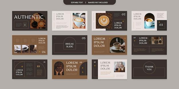 Design do layout do slide da apresentação do tema do café