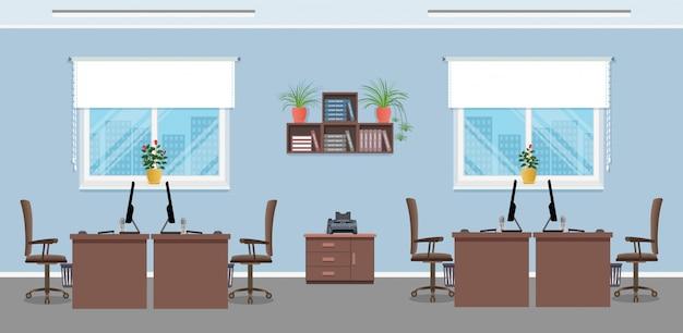 Design do local de trabalho com quatro locais de trabalho, móveis de escritório e janelas. conceito interior de escritório. sala interior de trabalho.