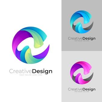 Design do logotipo abstrato da letra c e n colorido, estilo 3d