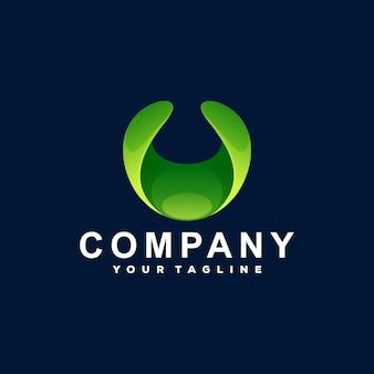 Design do logotipo abstrato da letra u