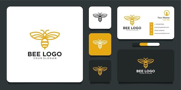 Design do logotipo da abelha com estilo de arte de linha e cartão de visita