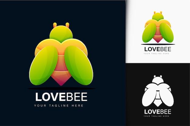 Design do logotipo da abelha do amor com gradiente