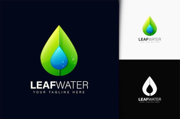 Design do logotipo da água da folha com gradiente