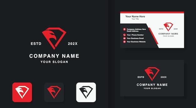 Design do logotipo da águia diamante e cartão de visita