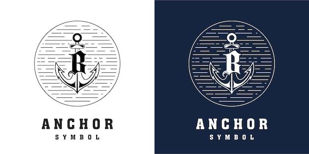 Design do logotipo da âncora com combinação da letra b