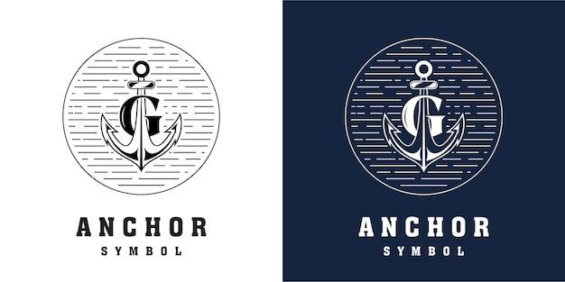 Design do logotipo da âncora com combinação da letra g