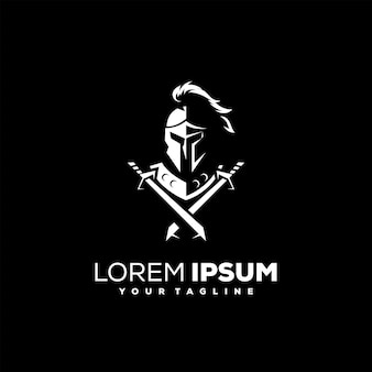 Design do logotipo da armadura de capacete de cavaleiro