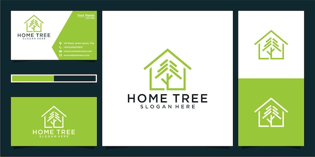 Design do logotipo da árvore doméstica e cartão de visita