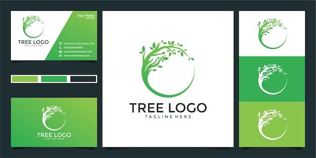 Design do logotipo da árvore e cartão de visita