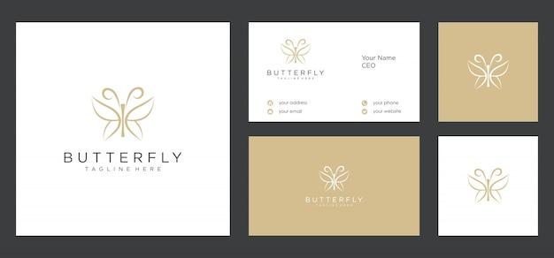 Design do logotipo da borboleta e cartão de visita