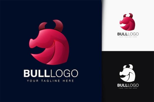 Design do logotipo da bull com gradiente