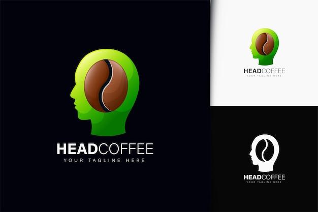 Design do logotipo da cabeça de café com gradiente