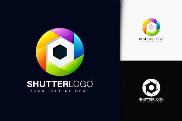 Design do logotipo da câmera do obturador com gradiente