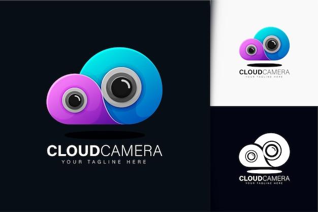 Design do logotipo da câmera na nuvem com gradiente