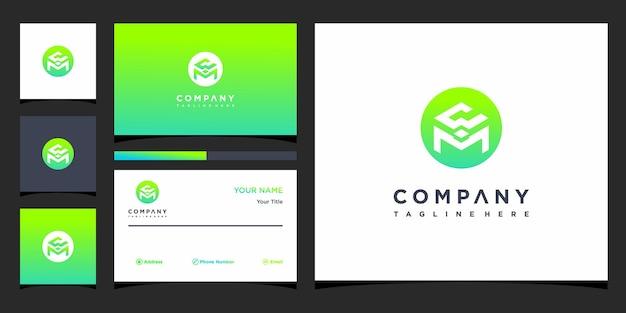 Design do logotipo da carta cwm e cartão de visita premium vector