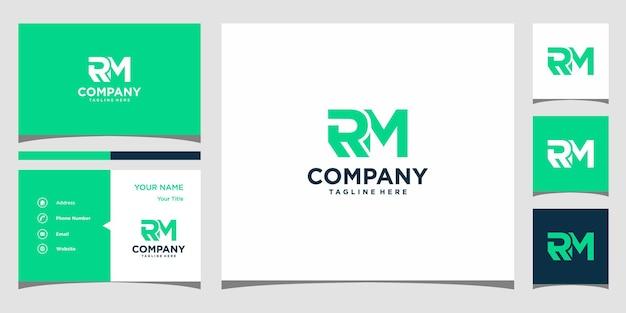 Design do logotipo da carta rm e cartão de visita premium vector