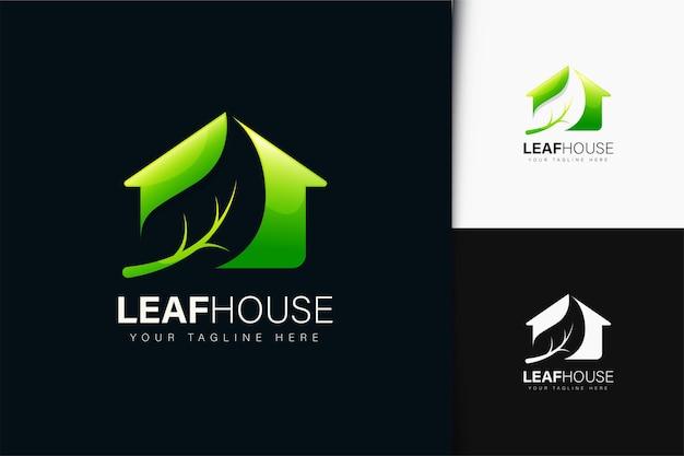 Design do logotipo da casa da folha com gradiente