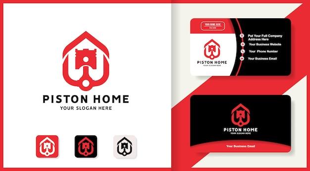 Design do logotipo da casa do pistão e cartão de visita