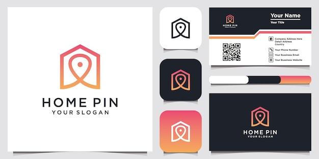 Design do logotipo da casa e do local do pino com modelo de cartão de visita