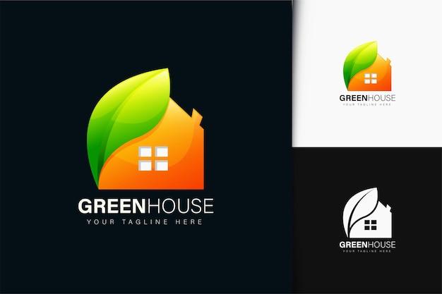 Design do logotipo da casa verde com gradiente