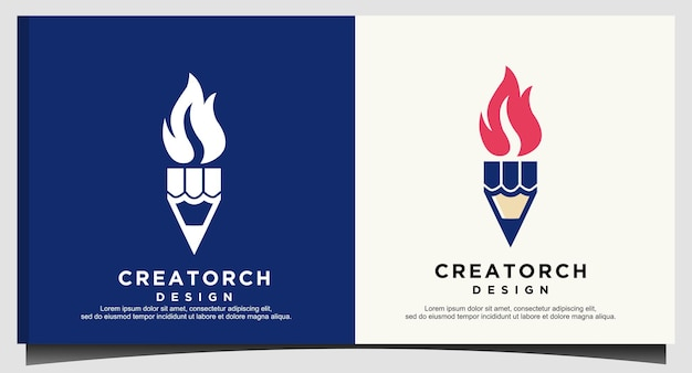 Design do logotipo da chama de fogo da tocha de caneta