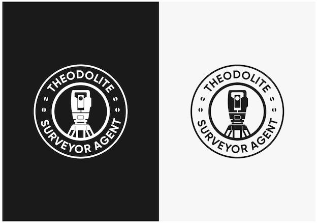 Design do logotipo da construção do inspetor de teodolito em crachá