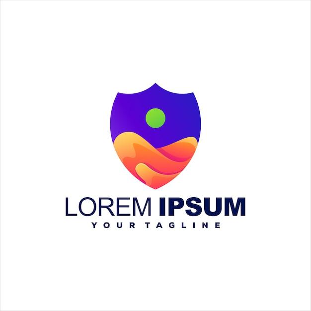 Design do logotipo da cor gradiente do escudo
