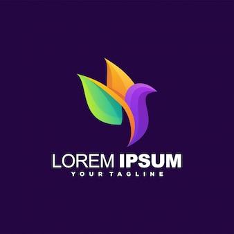 Design do logotipo da cor gradiente do pássaro