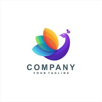 Design do logotipo da cor gradiente do pavão