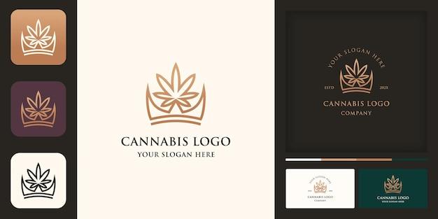 Design do logotipo da coroa de cannabis e cartão de visita