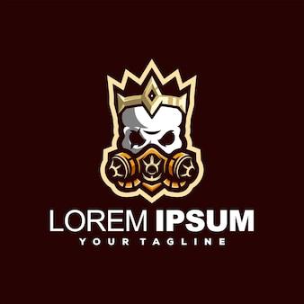 Design do logotipo da coroa de ouro do crânio