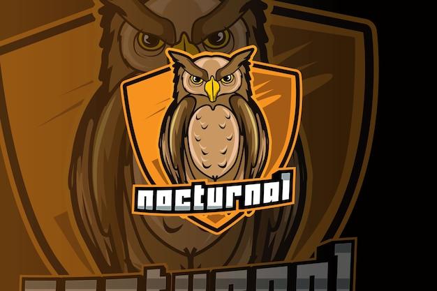 Design do logotipo da coruja esport e do mascote do esporte em um conceito moderno de ilustração