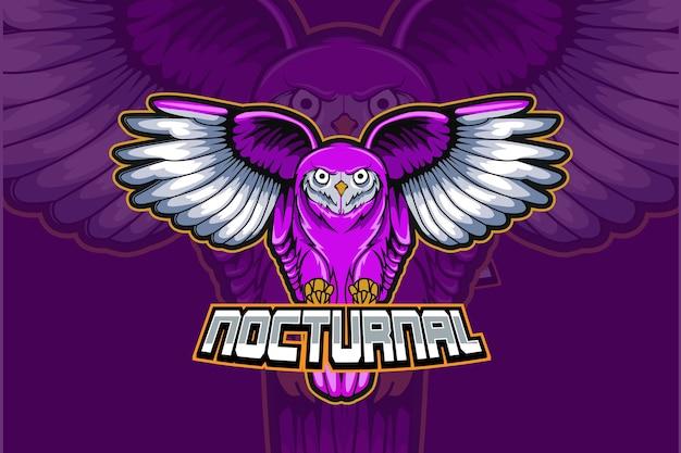 Design do logotipo da coruja noturna e do mascote do esporte em um conceito moderno de ilustração para impressão de distintivo, emblema e sede da equipe