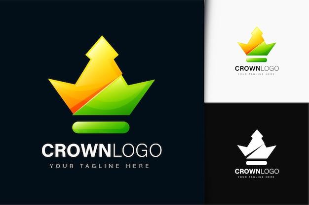 Design do logotipo da crown com gradiente