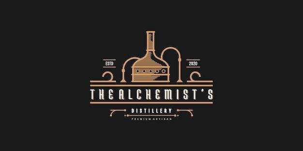 Design do logotipo da destilaria com forma de arte de linha bacana vektor premium